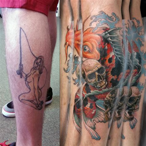 koi tattoo black and grey cover up marc tice owner and tattoo artist 13thhourtattoos com