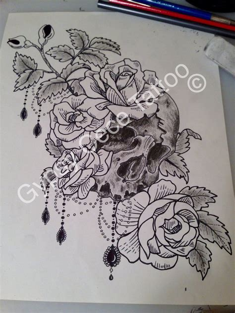 vintage victorian roses skull tattoo design by gypsycece