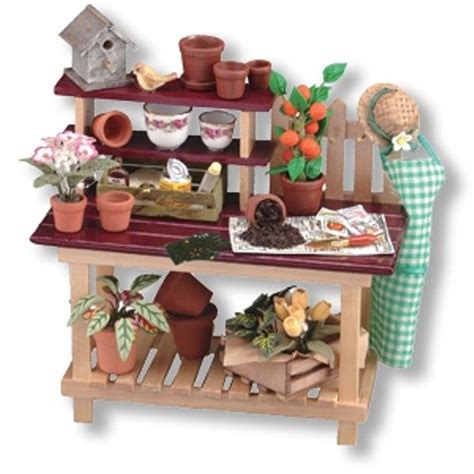potting bench accessories dollhouse miniature wood garden potting bench with