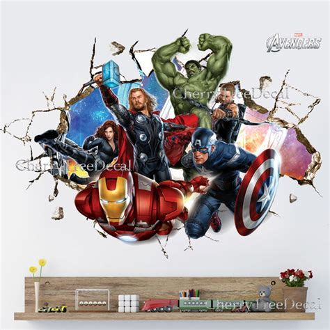 Boys Wall Art Stickers super hero avengers wall crack decal sticker boys bedroom