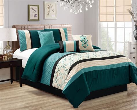 teal bedroom set 7 piece quilted geometric embroidered teal ivory black
