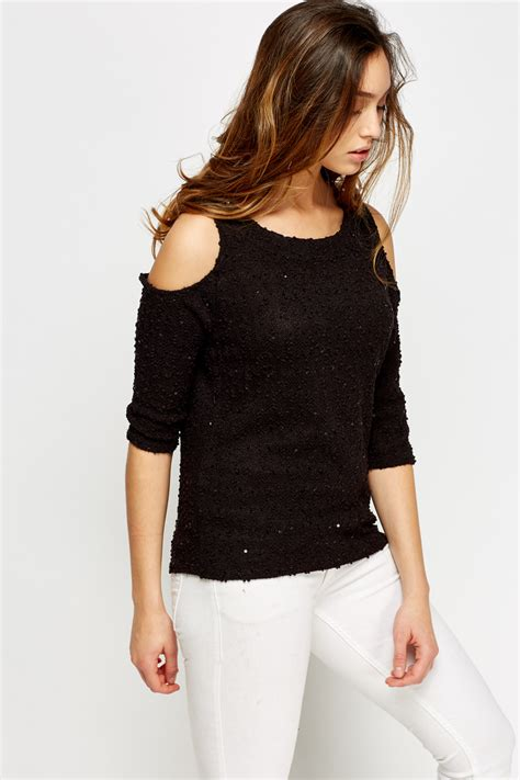 Cold Shoulder Knit Top sequin cold shoulder knit top just 163 5