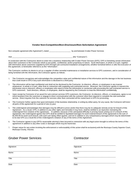 non compete agreement template pdf non compete agreement template 5 free templates in pdf
