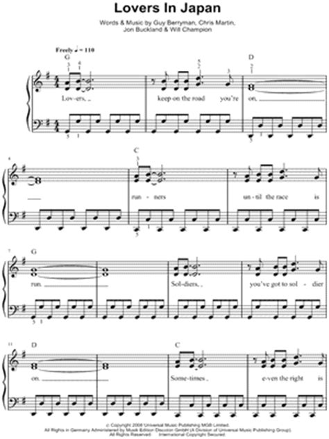 free download mp3 coldplay lovers in japan coldplay quot lovers in japan quot sheet music easy piano