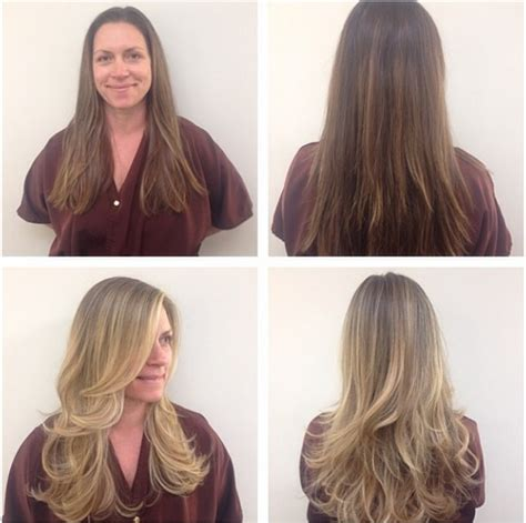 hair color makeover to light hair before and after brown hairs