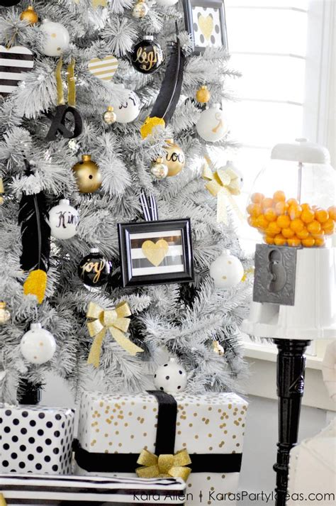 karas party ideas michaels dream tree challenge  black white gold christmas tree