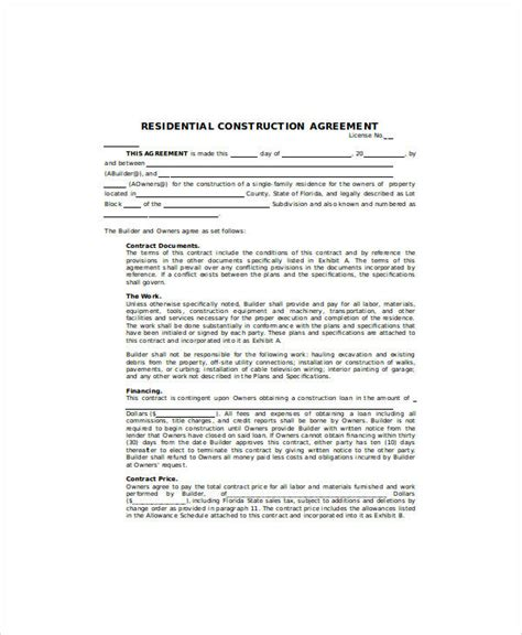 Agreement Letter For Building sle contract agreement 30 exles in word pdf