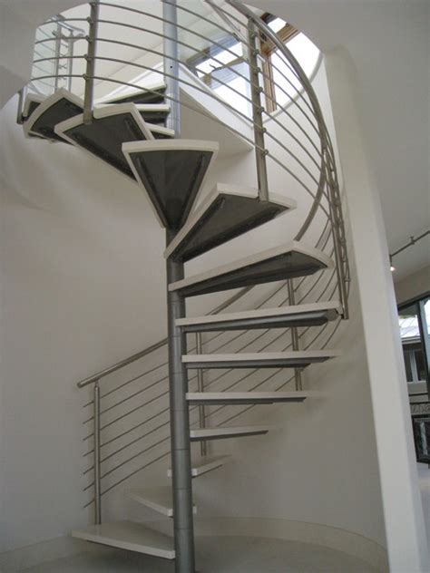 Stainless Steel Stairs Design Modern Stainless Steel Spiral Stair And Rails Contemporary Staircase Miami By Noral Iron