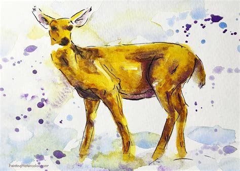 watercolor deer tutorial painting watercolor learn watercolor painting