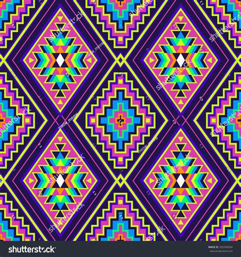geometric neon pattern neon color tribal indian seamless pattern stock vector