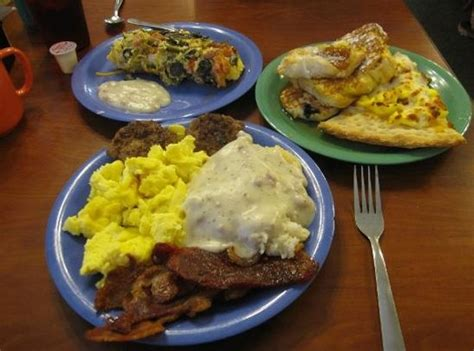eggs sausafe bacon biscuits and gravy picture of