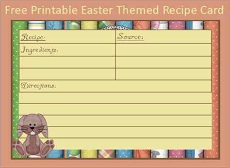 printable dog recipe cards menu plan monday free 4 x 6 easter bunny recipe card 3