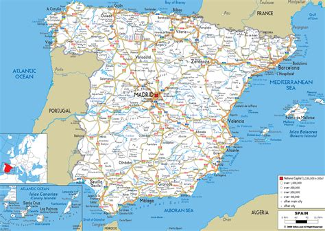 large printable road maps detailed clear large road map of spain ezilon maps