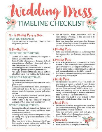 Awesome Wedding Dress Planning Timeline Download (FREE