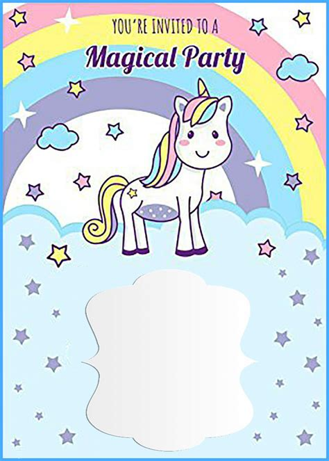 unicorn birthday card template unicorn free printable birthday invitation template