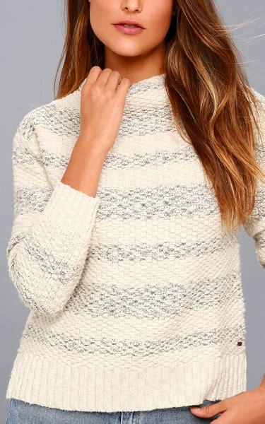 Hq 16712 Stripe Knit Sweater livie and grey striped funnel neck knit sweater best fashion hq