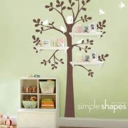 Nursery Tree Wall Decal Baby Nursery Wall Decal Shelving Tree Simpleshapes Furnishings On Artfire