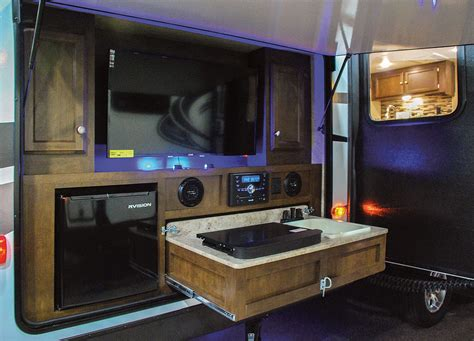 rv with outdoor kitchen travel trailer with outdoor kitchen take it outside with