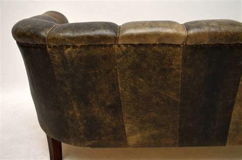 Leather Antique Sofa by Antique Swedish Leather Fluted Back Sofa Marylebone
