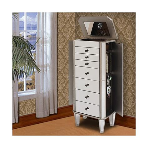 powell mirrored jewelry armoire with silver wood powell furniture mirrored jewelry armoire with quot silver