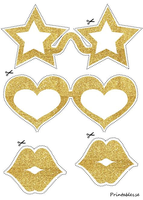 printable star glasses photo booth props golden glasses with stars