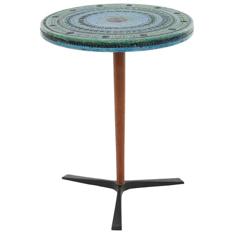 Ceramic Side Table Aldo Londi For Bitossi Ceramic Metal And Teak Side Table At 1stdibs