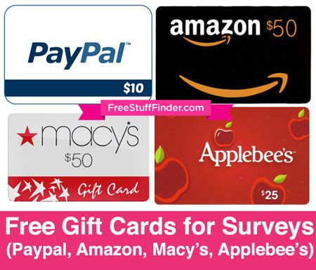 Macy S Gift Card To Paypal - earn free gift cards for surveys paypal amazon macy s