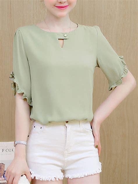 Sleeve Ruffle Trim Shirt solid keyhole ruffle trim sleeve t shirt