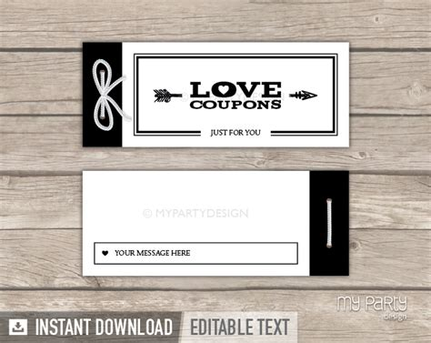black and white printable love coupons love coupon book black arrow printable pdf my party design
