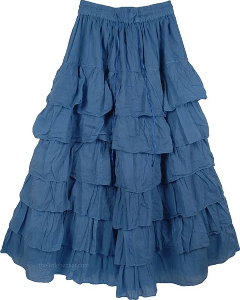 kashmir blue layered skirt clothing