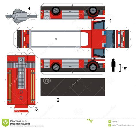 truck paper paper model of a fire truck cartoon vector cartoondealer