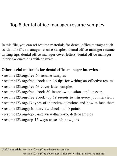 Free Sle Resume Dental Office Manager Top 8 Dental Office Manager Resume Sles