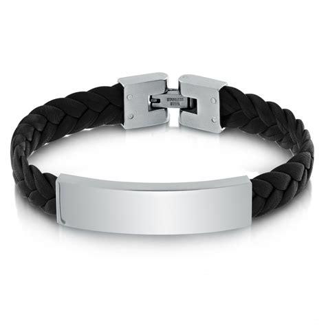 mens leather id bracelets mens adjustable plaited black leather stainless steel id