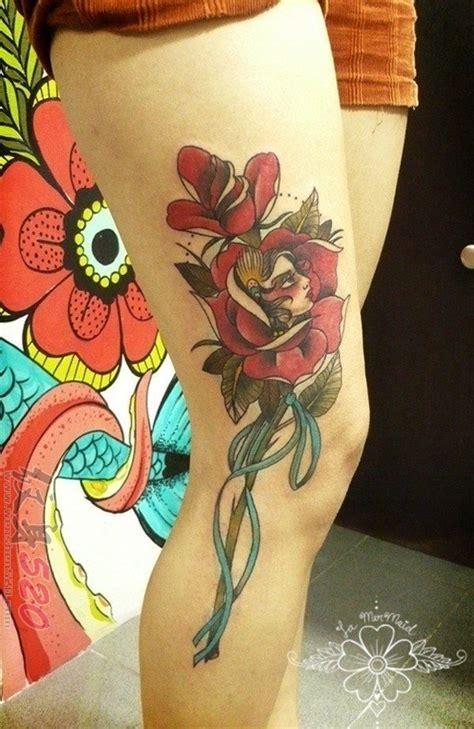 女生大腿上文艺小清新创意唯美纹身图案