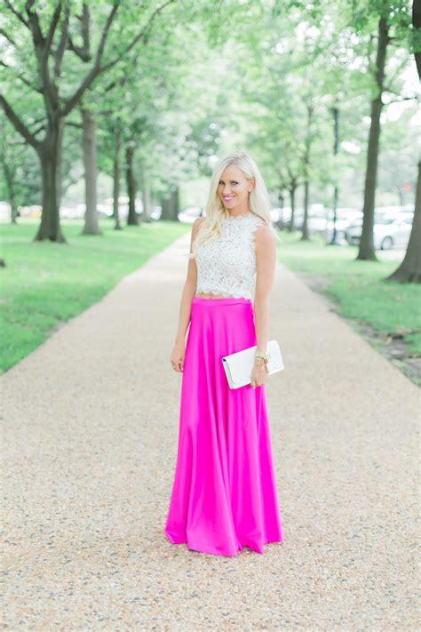 Hot Pink Maxi Skirt   Lace Crop Top   Mckenna Bleu
