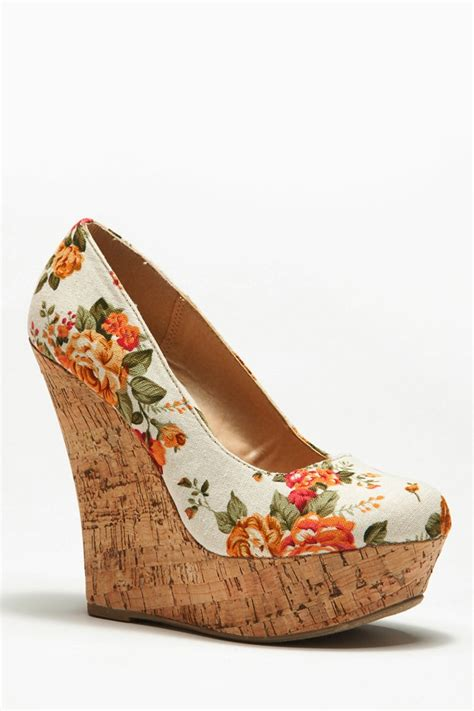 Wedges Floral floral print cork wedges cicihot wedges shoes store