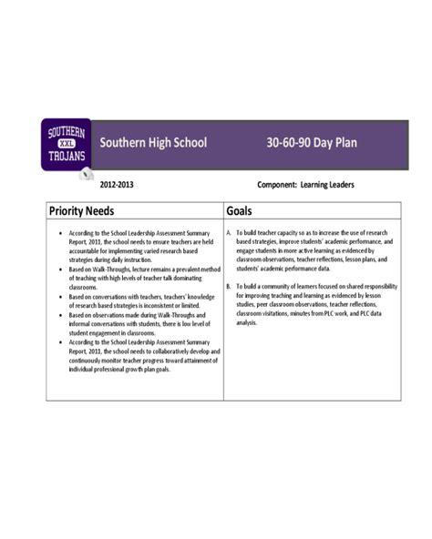 30 day performance improvement plan template 2018 30 60 90 day plan fillable printable pdf forms
