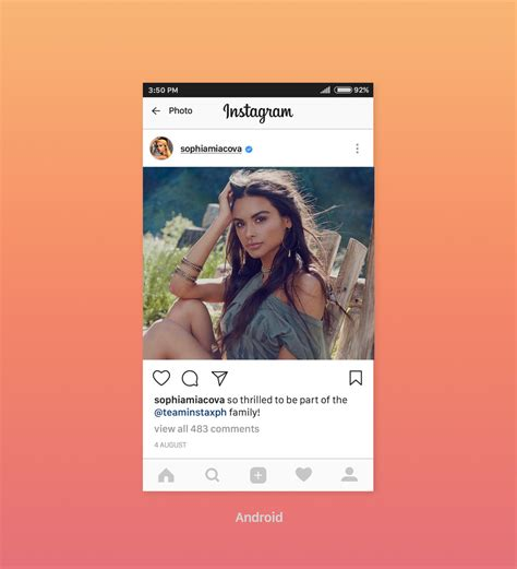 android layout like instagram free instagram feed screen ui mockup 2017 iphone