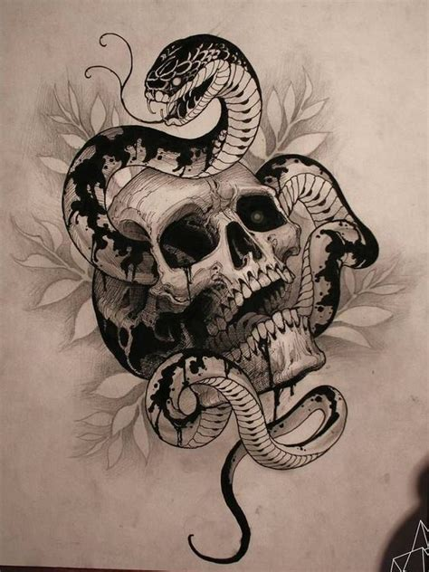 snake and skull tattoo designs badass snake skull tattoos ideas tattoos for