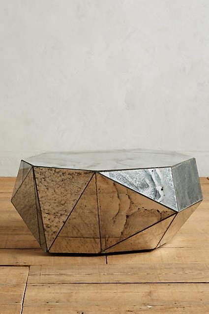 glass and mirror coffee table faceted mirror coffee table
