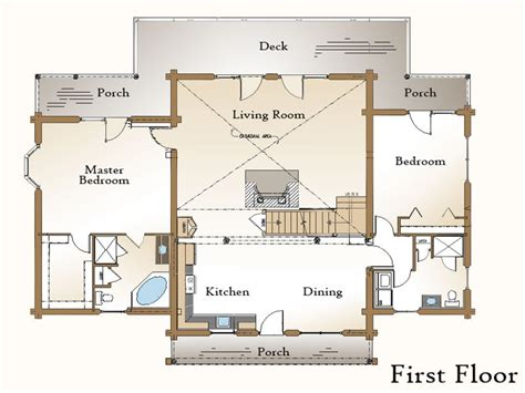 porch floor plan log home plans with open floor plans log house plans with