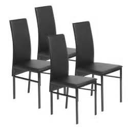 lot de 4 chaises de salle 224 manger en simili noir