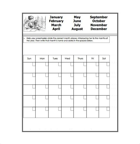 40 Calendar Templates Sle Templates Preschool Calendar Template