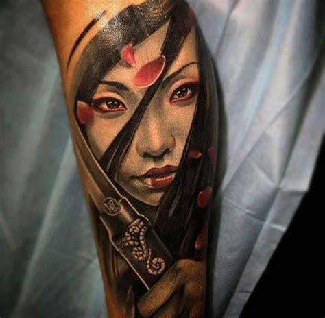 tattoo geisha katana new school style colored forearm tattoo of beautiful