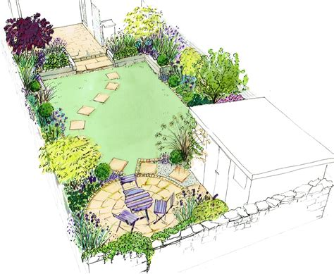 idea for a small back town garden a curving lawn with a