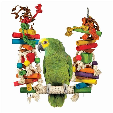 parrot rope swing rope swing w wood blocks leather bird toy petsolutions