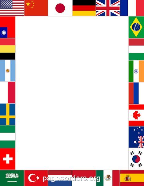 printable flags of the world a4 printable world flags border use the border in microsoft