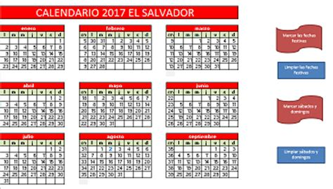En El Calendario Calendario 2017 El Salvador 171 Excel Avanzado