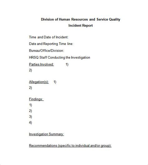 Incident Report Letter Tagalog Incident Report Template 35 Free Word Pdf Format Free Premium Templates