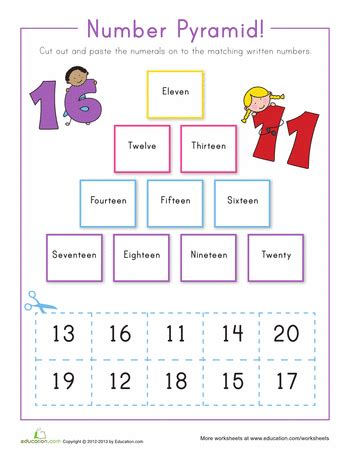 printable word and number games number pyramid 11 20 number words number and math